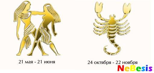 Скорпион-мужчина и Близнецы-женщина
